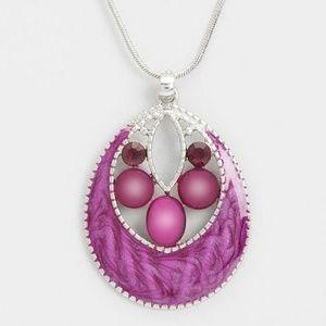 Enamel Jeweled Pendant Necklace